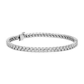 NOUVEAU Bracelet tennis avec deux rangées de diamants en or blanc 14carats (3,5carats, poids total)