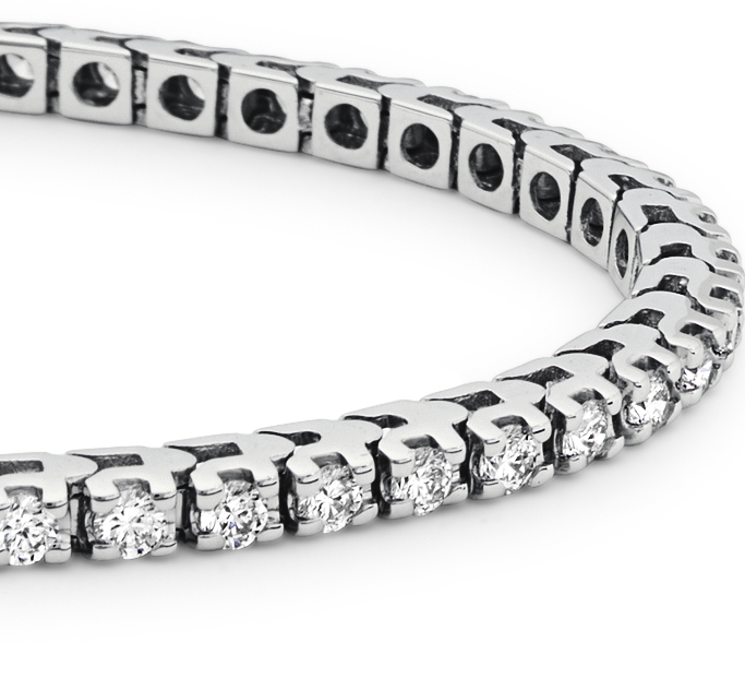 Bracelet tennis diamants en or blanc 14 carats (2 carats, poids total)