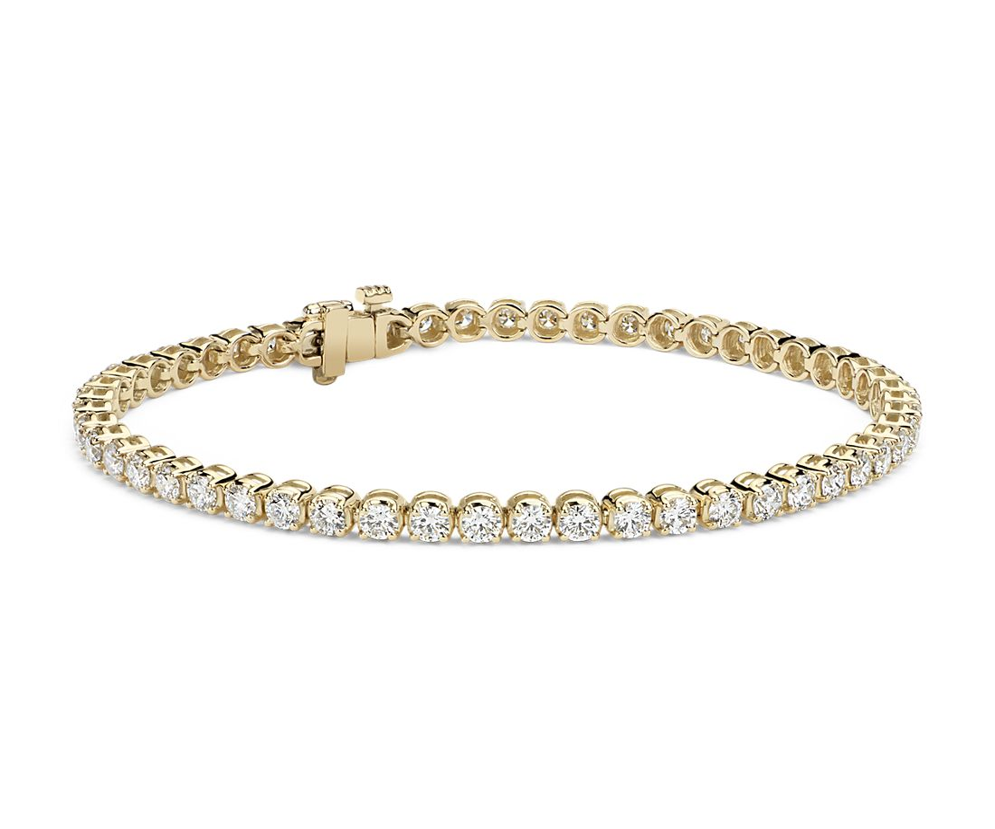 14k 黃金鑽石手鍊(4 克拉總重量)