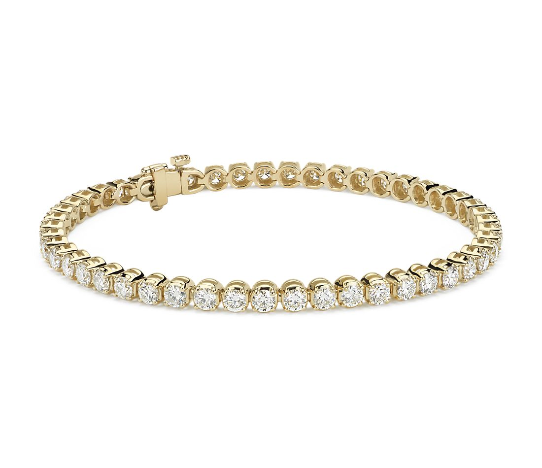 Bracelet tennis diamants en or jaune 14 carats (5 carats, poids total)
