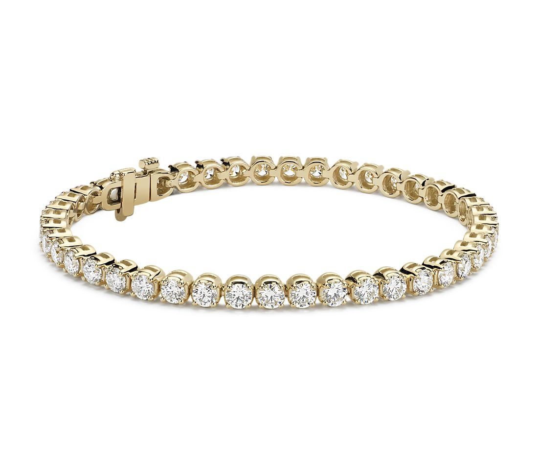 Bracelet tennis diamants en or jaune 14 carats (7 carats, poids total)
