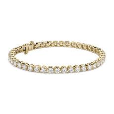 Bracelet tennis diamants en or jaune 14carats (7carats, poids total)