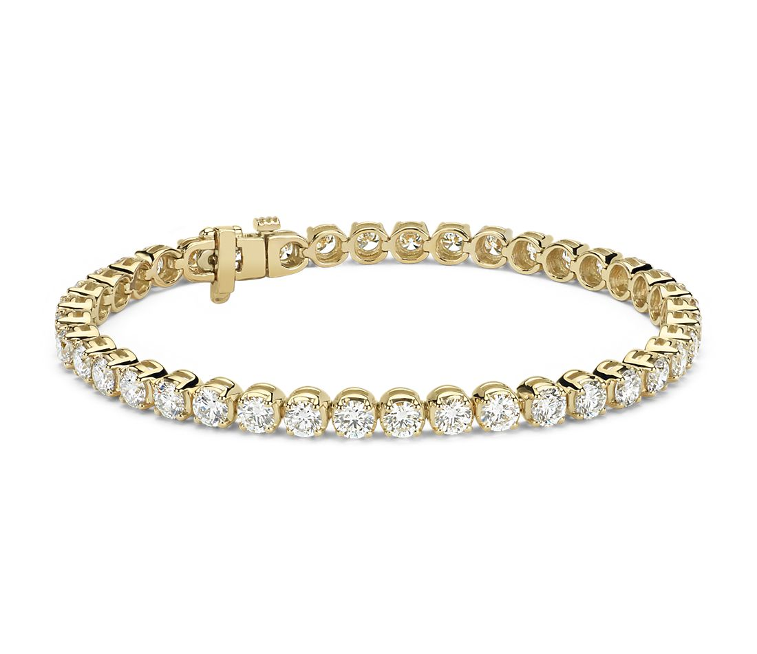 Bracelet tennis diamants en or jaune 14 carats (8 carats, poids total)