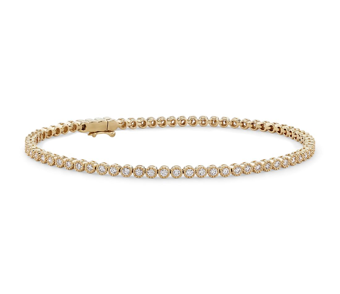 Petite Diamond Milgrain Tennis Bracelet in 14k Yellow Gold (1 1/2 ct. tw.)