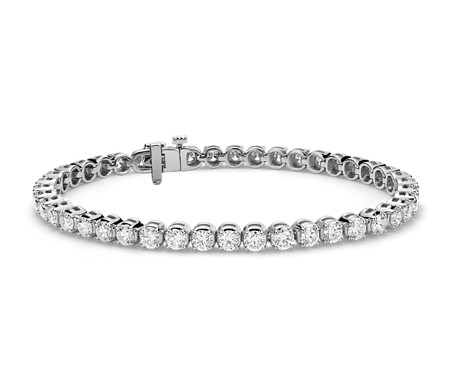 Bracelet tennis diamants en or blanc 14 carats (6,9 carats, poids total)
