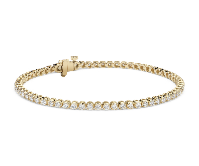 Bracelet tennis diamants en or jaune 18 carats (2 carats, poids total)