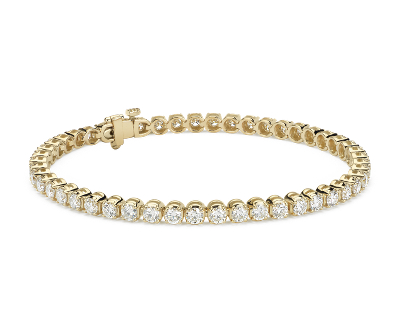 Bracelet tennis diamants en or jaune 18 carats (5 carats, poids total)