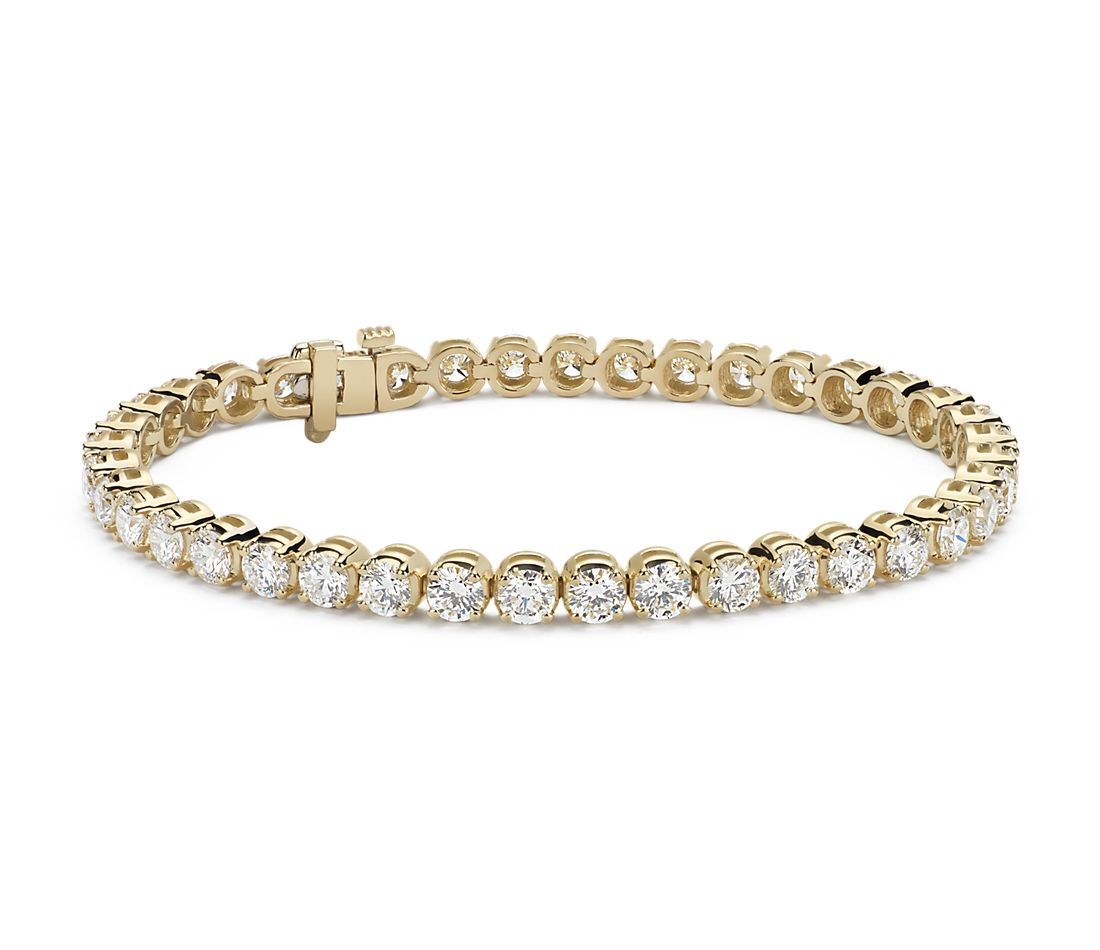 Bracelet tennis diamants en or jaune 18 carats (10 carats, poids total)