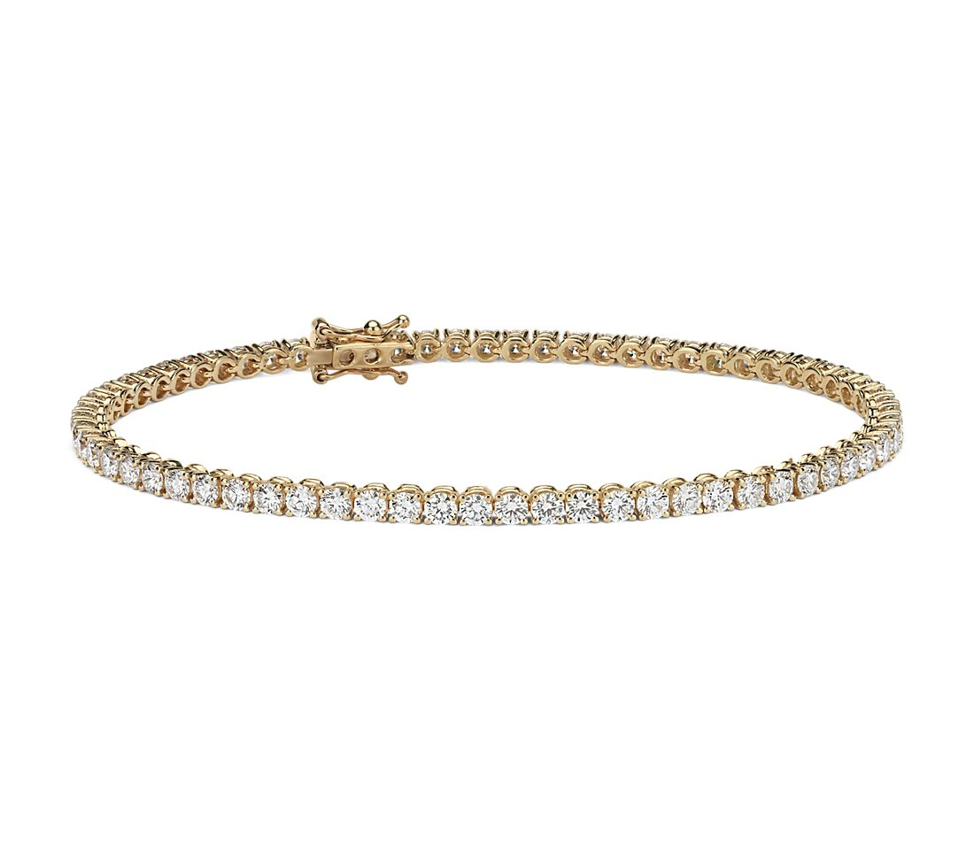 Diamond Tennis Bracelet In 18k Yellow Gold F Vs 4 Ct