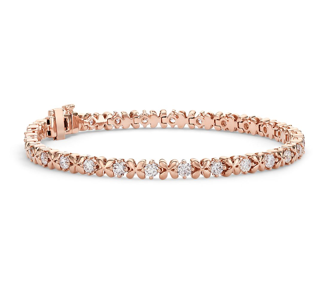 Blue Nile Studio Rose Petal Diamond Bracelet in 18k Rose ...