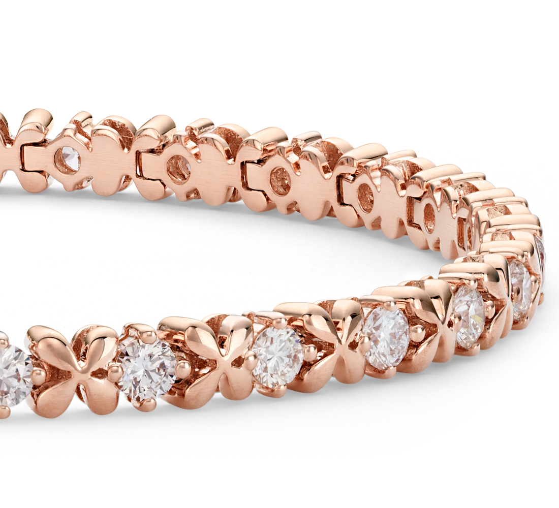 Bracelet diamants pétale de rose Blue Nile Studio en or rose 18 carats (2,5 carats, poids total)