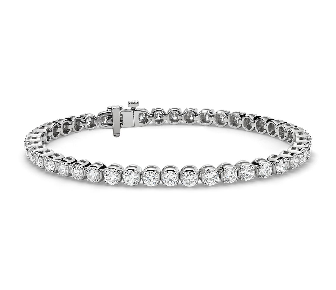 Bracelet tennis diamants en or blanc 18 carats (7 carats, poids total)