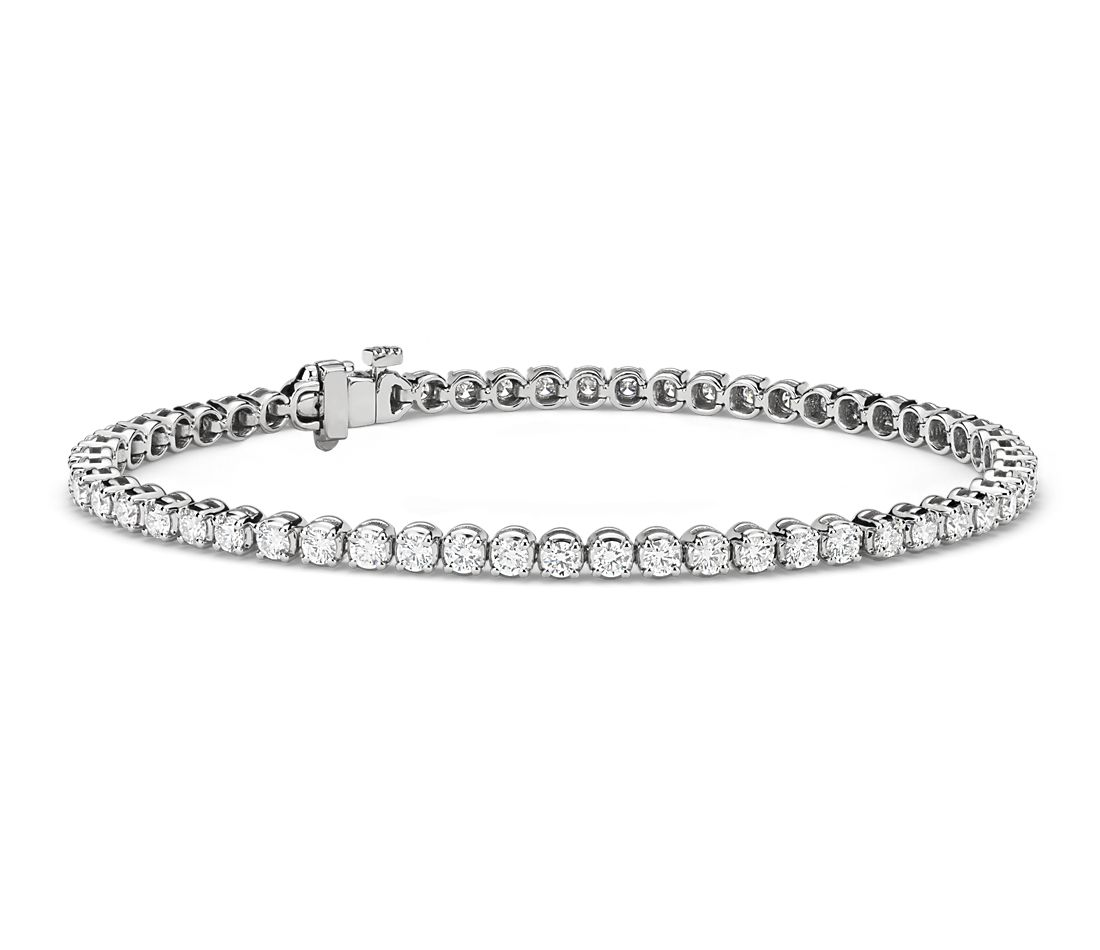 Bracelet tennis diamants en or blanc 18 carats (3 carats, poids total)