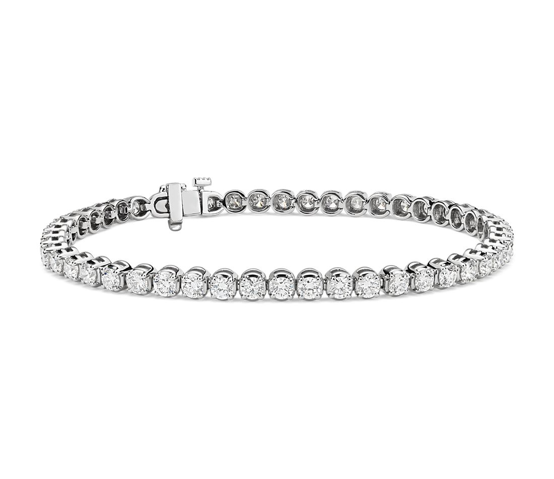 Bracelet tennis diamants en or blanc 18 carats (5 carats, poids total)
