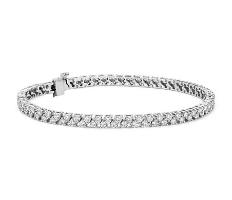 Diamond Two Row Tennis Bracelet in 18k White Gold (3.31 ct. tw.)- F/VS