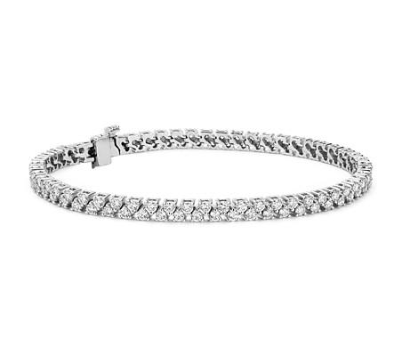 Bracelet tennis avec deux rangées de diamants en or blanc 18carats (3,31carats, poids total) - F/VS