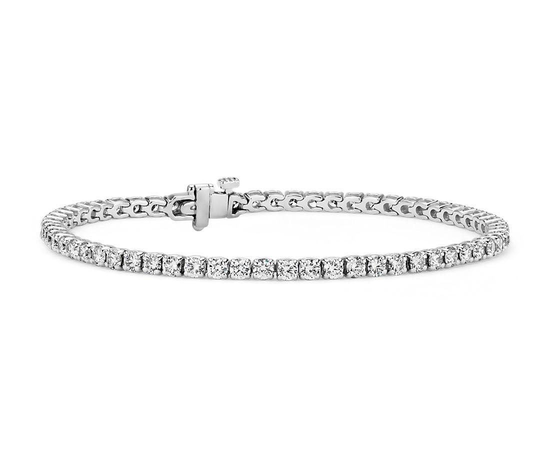 Bracelet tennis diamants en or blanc 18carats- F/SI2 (3,95carats, poids total)