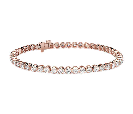 Bracelet tennis diamants en or rose 14 carats (5 carats, poids total)
