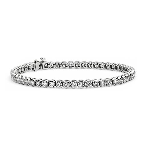 Diamond Bezel Set Tennis Bracelet In 14k White Gold 3 10