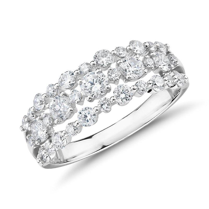 Diamond Three-Row Alternating Fashion Ring in 14k White Gold (1 c