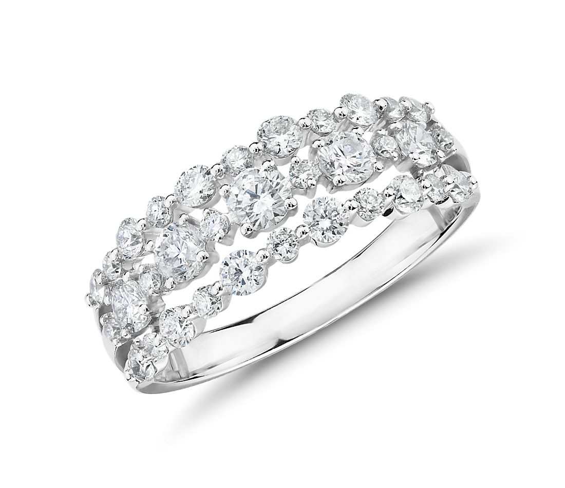 Diamond Three-Row Alternating Fashion Ring in 14k White Gold (1 ct. tw.)
