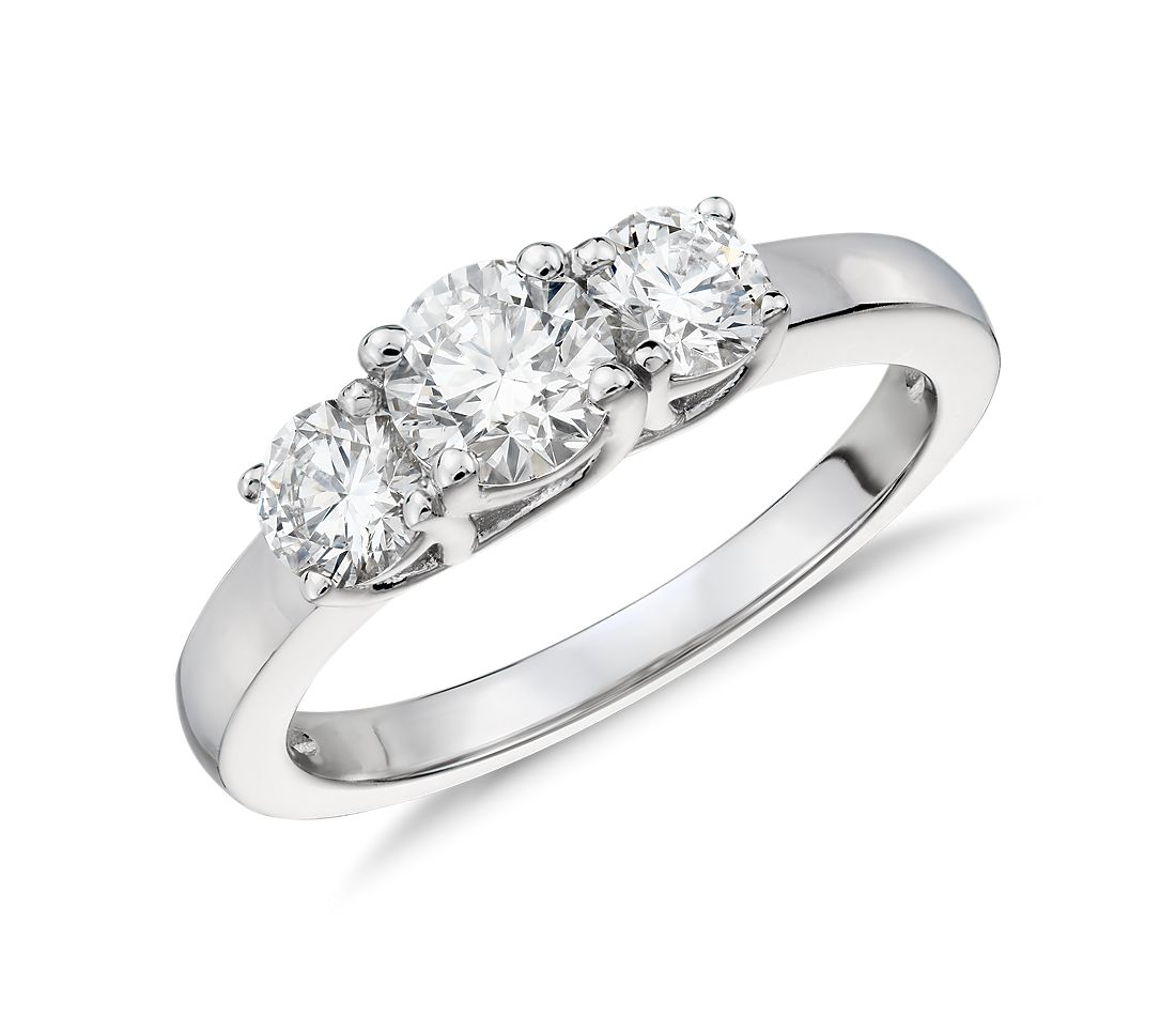 Three Stone Trellis Diamond Ring In 14k White Gold 1 Ct