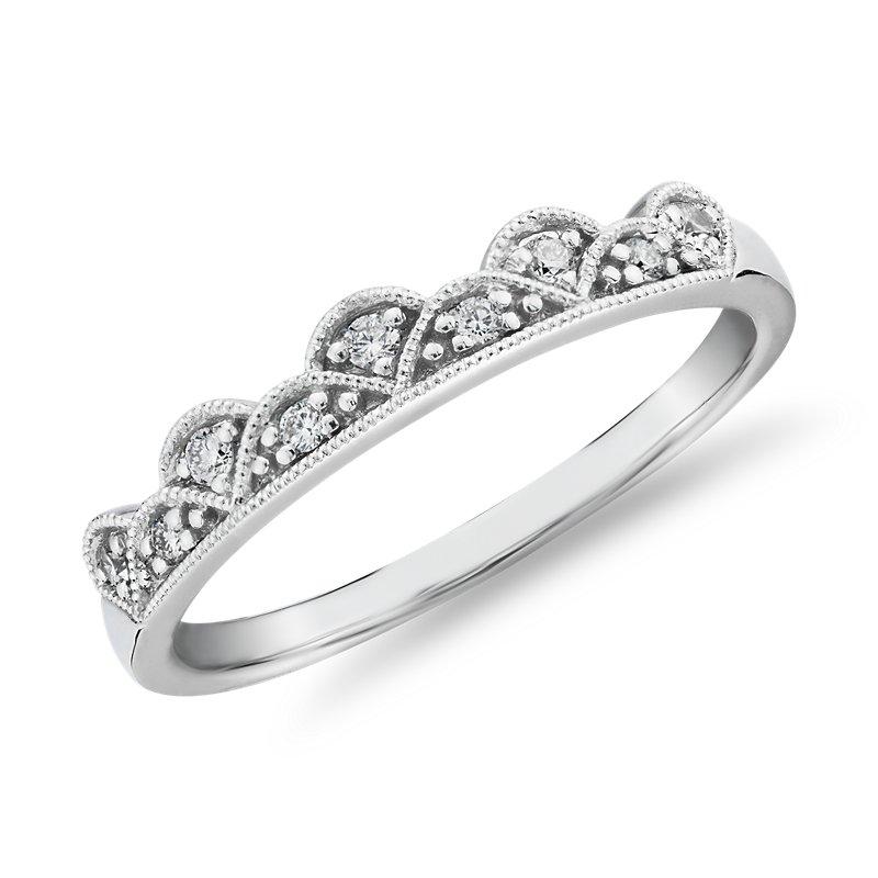 Diamond Tiara Milgrain Fashion Ring in 14k White Gold (1/10 ct. t