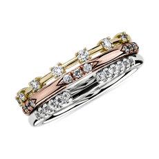 钻石三色黄金时尚堆叠戒指 (1/3 克拉总重量)