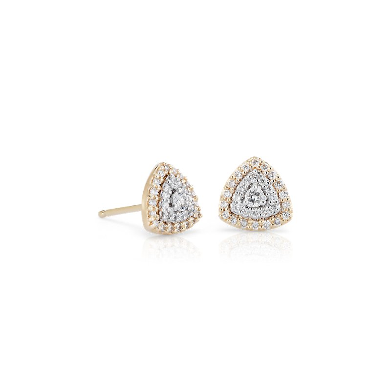 Diamond Trillion Shape Halo Stud Earring in 14k White and Yellow