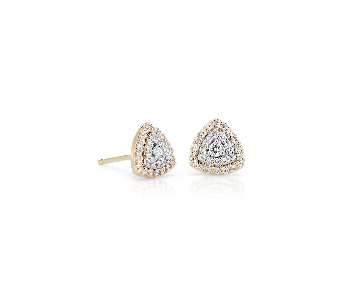 Diamond Trillion Shape Halo Stud Earring in 14k White and Yellow Gold (1/3 ct. tw.)
