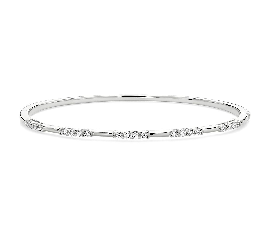 Diamond Trio Station Bangle in 14k White Gold (5/8 ct. tw.)