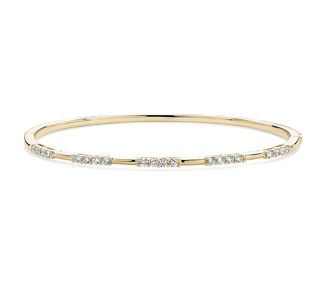 Diamond Trio Station Bangle in 14k Yellow (5/8 ct. tw.)