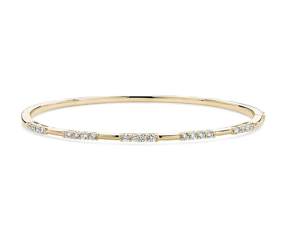 14k 黃金三重鑽石鑲嵌手鐲 (5/8 克拉總重量)