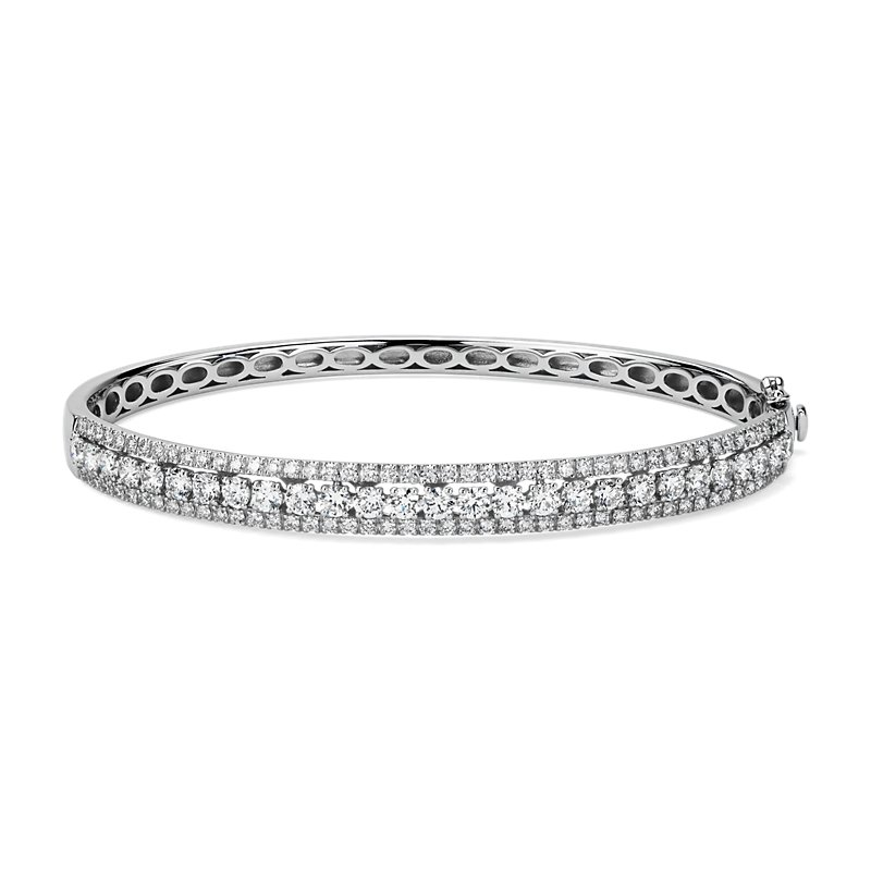 Diamond Triple Row Diamond Bangle in 14k White Gold (2 3/4 ct. tw