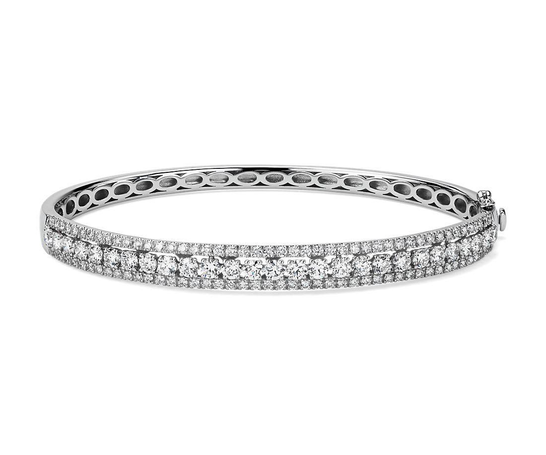 14k 白金三排鑽石手鐲(2 3/4 克拉總重量)