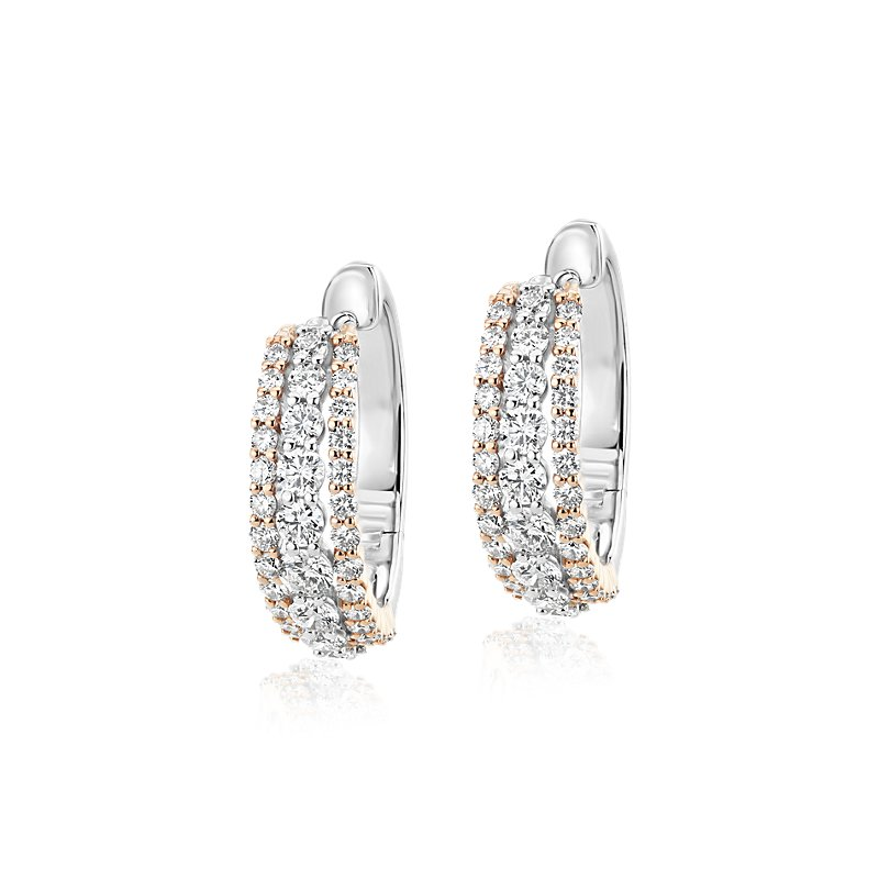 Diamond Triple Row Hoop Earrings in 14k White and Rose Gold (1 1/
