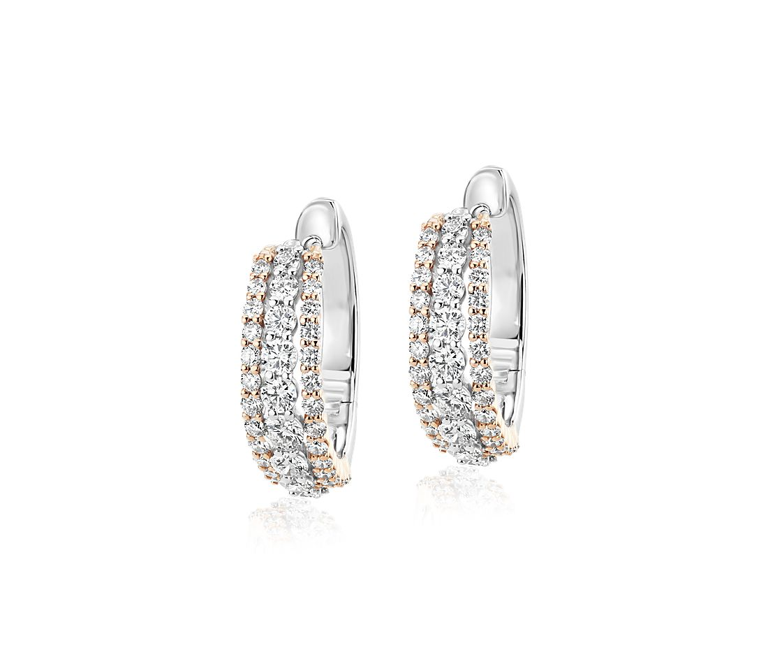 Diamond Triple Row Hoop Earrings in 14k White and Rose Gold (1 1/2 ct. tw.)
