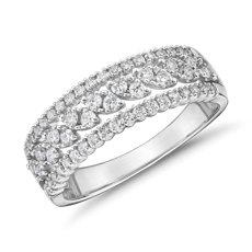 三排式钻石马眼形时尚戒指 (1/2 克拉总重量)