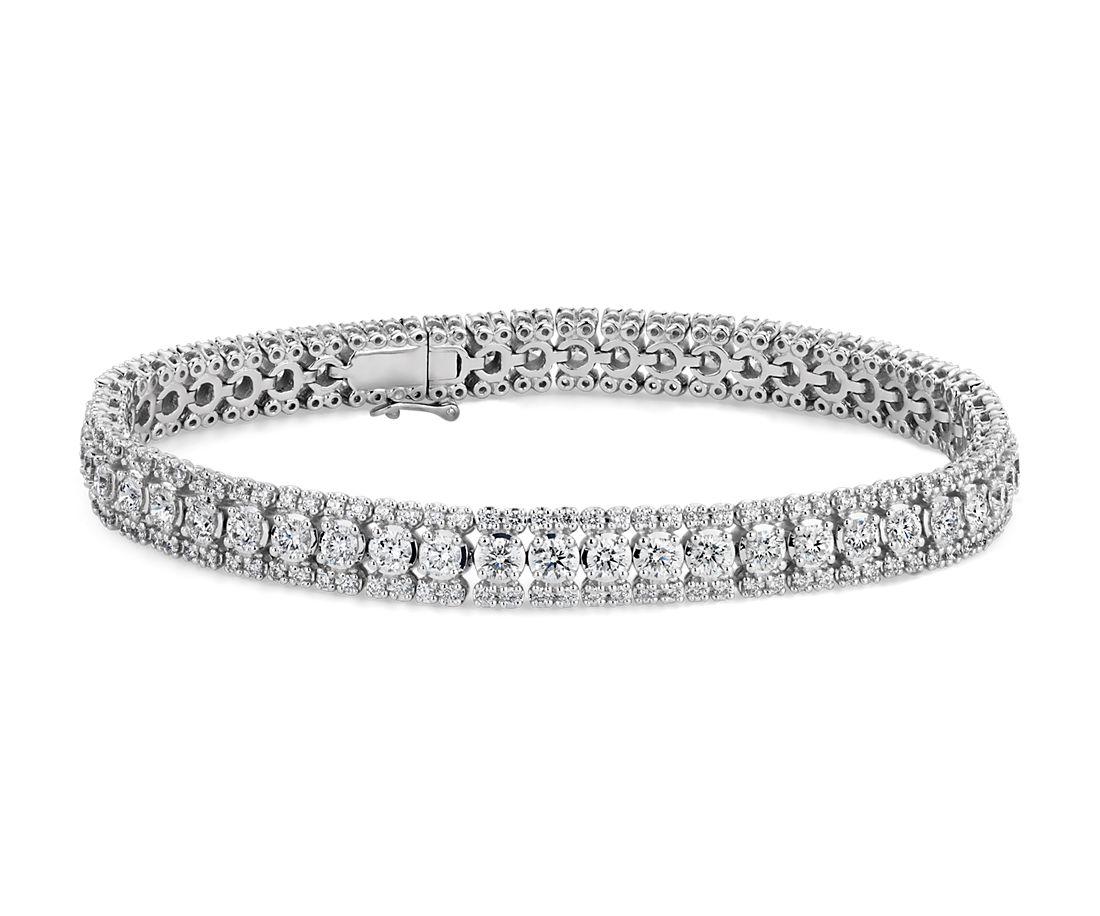Diamond Triple Row Tennis Bracelet In 14k White Gold 5 3