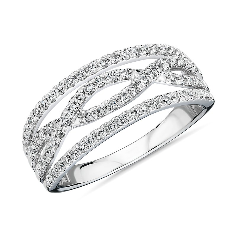 Diamond Twist Fashion Ring in 14k White Gold (1/2 ct. tw.)