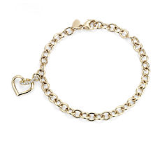 Twist Heart Bracelet with Diamond Detail in 14k Yellow Gold