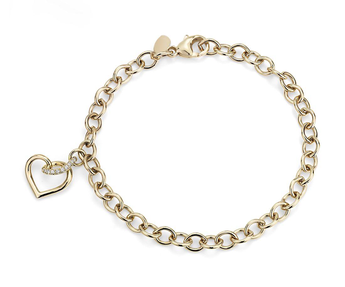 Bracelet cœur torsadé avec détails diamants en or jaune 14carats