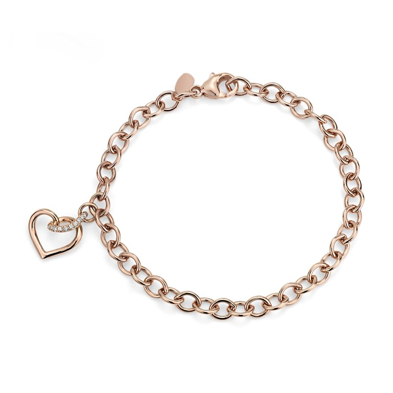 Twist Heart Bracelet with Diamond Detail in 14k Rose Gold