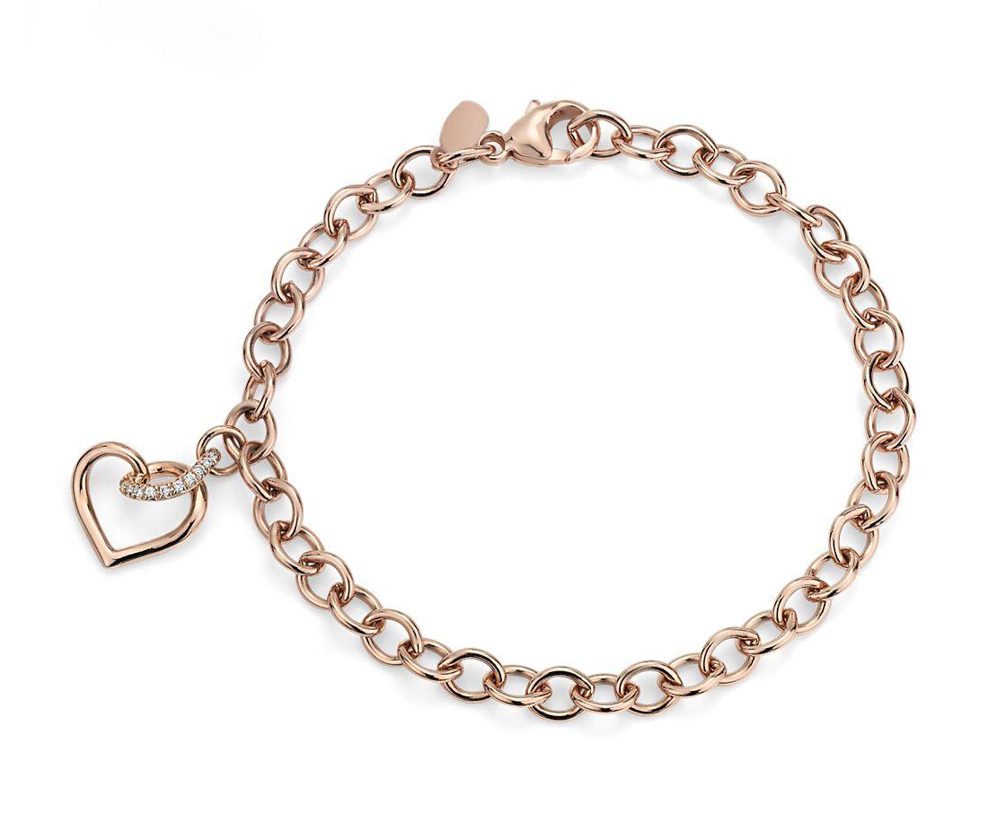 Bracelet cœur torsadé avec détails diamants en or rose 14carats
