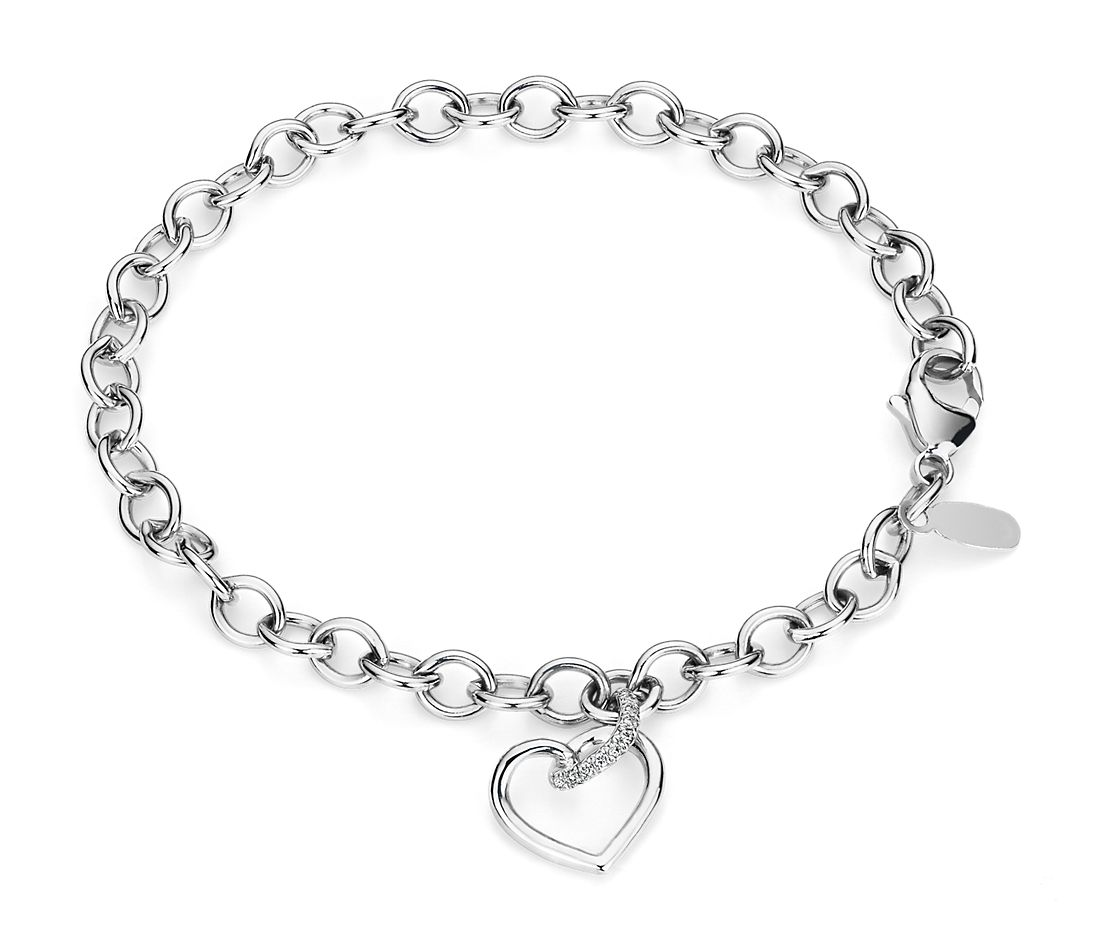 Twist Heart Bracelet with Diamond Detail in 14k White Gold