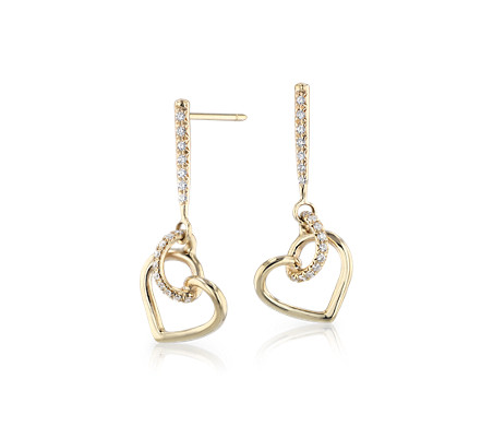 Diamond Twist Heart Pavé Drop Earrings in 14k Yellow Gold (1/5 ct. tw.)