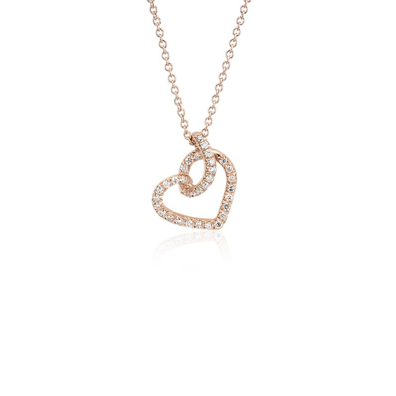 Diamond Twist Pavé Heart Pendant in 14k Rose Gold (1/6 ct.