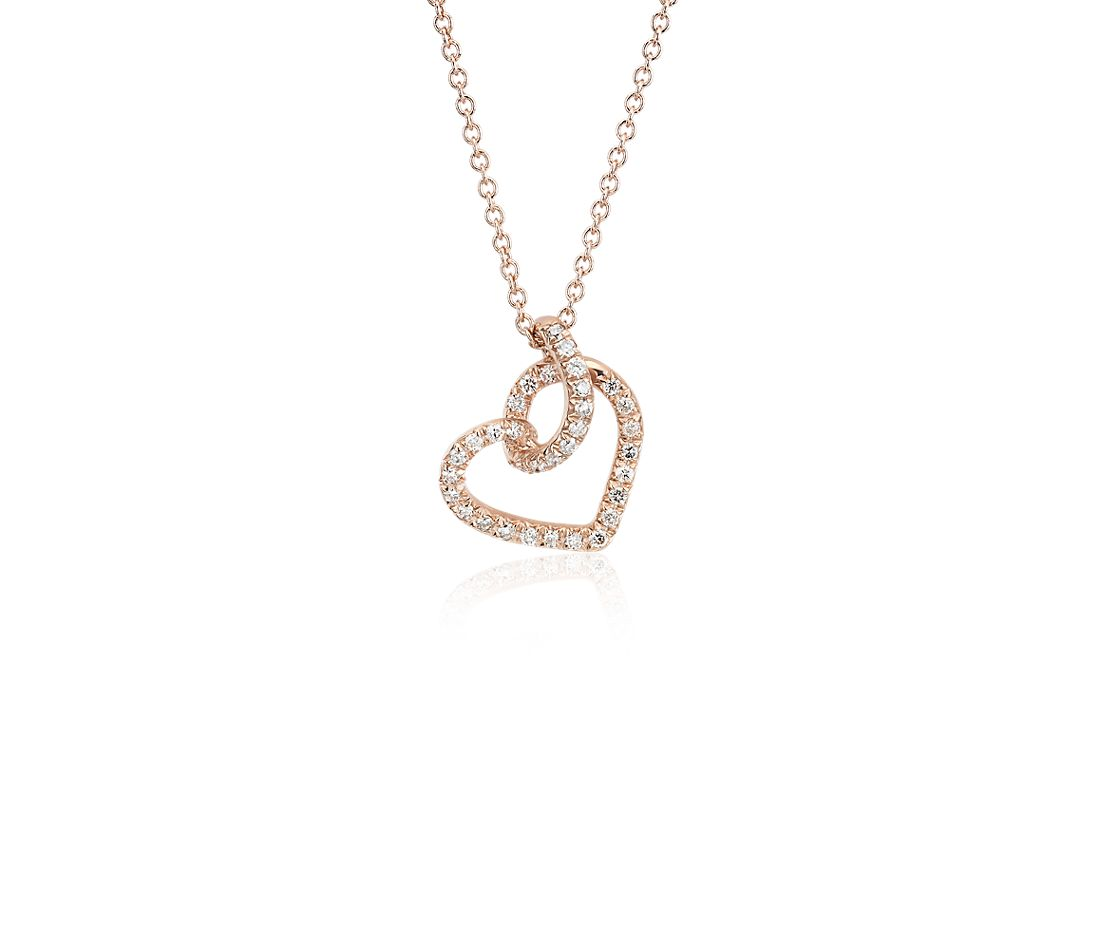 Diamond Twist Pavé Heart Pendant in 14k Rose Gold (0.17 ct. tw.)