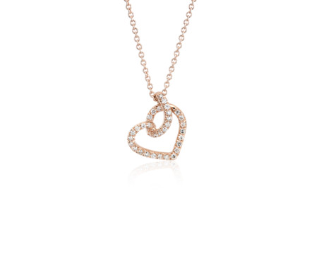 Diamond Twist Pavé Heart Pendant in 14k Rose Gold (1/6 ct. tw.)