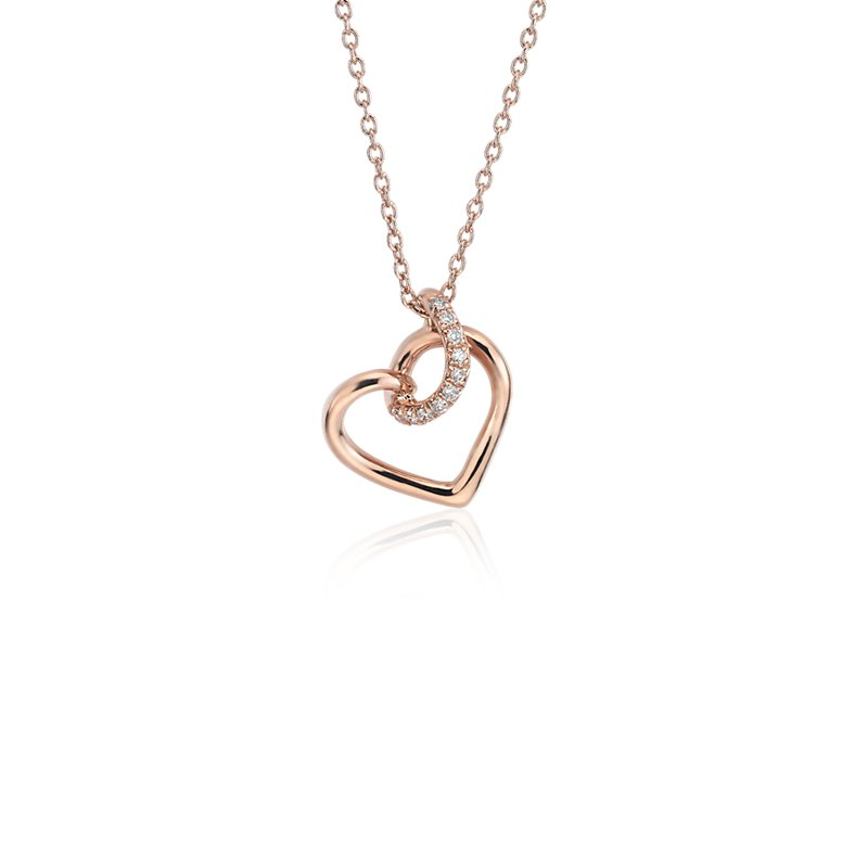 Diamond Twist Pavé Heart Pendant in 14k Rose Gold